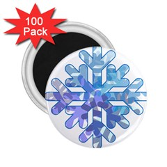 Snowflake Blue Snow Snowfall 2 25  Magnets (100 Pack)
