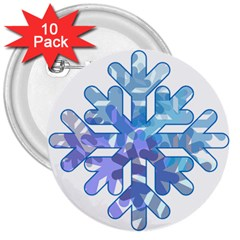 Snowflake Blue Snow Snowfall 3  Buttons (10 pack)