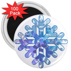 Snowflake Blue Snow Snowfall 3  Magnets (100 Pack)