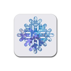 Snowflake Blue Snow Snowfall Rubber Coaster (square)