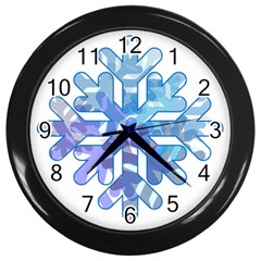 Snowflake Blue Snow Snowfall Wall Clocks (black)