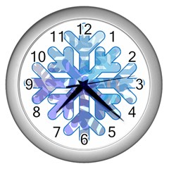Snowflake Blue Snow Snowfall Wall Clocks (silver)