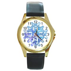 Snowflake Blue Snow Snowfall Round Gold Metal Watch