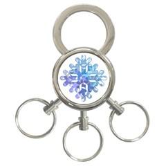 Snowflake Blue Snow Snowfall 3 Ring Key Chains