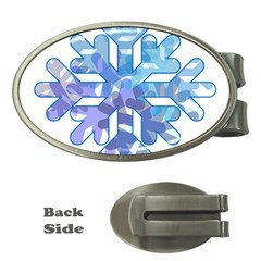 Snowflake Blue Snow Snowfall Money Clips (oval)