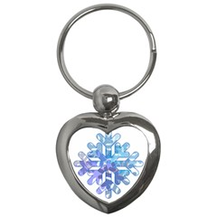 Snowflake Blue Snow Snowfall Key Chains (heart)