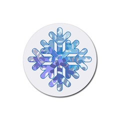 Snowflake Blue Snow Snowfall Rubber Round Coaster (4 Pack)