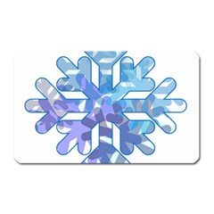 Snowflake Blue Snow Snowfall Magnet (rectangular)