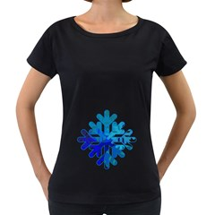 Snowflake Blue Snow Snowfall Women s Loose Fit T Shirt (black)