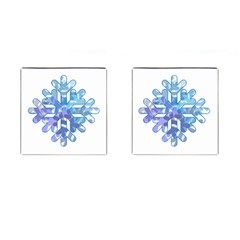 Snowflake Blue Snow Snowfall Cufflinks (square)
