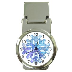 Snowflake Blue Snow Snowfall Money Clip Watches