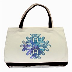 Snowflake Blue Snow Snowfall Basic Tote Bag