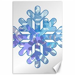 Snowflake Blue Snow Snowfall Canvas 12  X 18