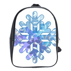 Snowflake Blue Snow Snowfall School Bags(large)