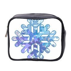 Snowflake Blue Snow Snowfall Mini Toiletries Bag 2 Side