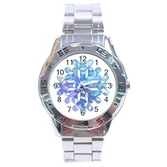 Snowflake Blue Snow Snowfall Stainless Steel Analogue Watch