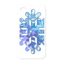 Snowflake Blue Snow Snowfall Apple Iphone 4 Case (white)
