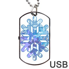 Snowflake Blue Snow Snowfall Dog Tag Usb Flash (two Sides)