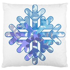 Snowflake Blue Snow Snowfall Large Cushion Case (one Side)
