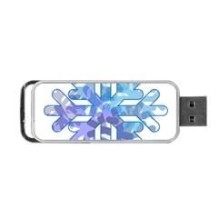 Snowflake Blue Snow Snowfall Portable Usb Flash (one Side)