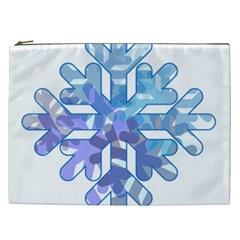 Snowflake Blue Snow Snowfall Cosmetic Bag (xxl)