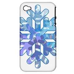 Snowflake Blue Snow Snowfall Apple Iphone 4/4s Hardshell Case (pc+silicone)