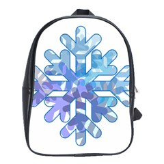 Snowflake Blue Snow Snowfall School Bags (xl)