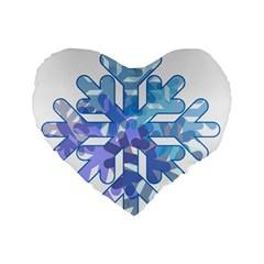 Snowflake Blue Snow Snowfall Standard 16  Premium Heart Shape Cushions