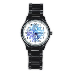 Snowflake Blue Snow Snowfall Stainless Steel Round Watch