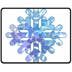 Snowflake Blue Snow Snowfall Double Sided Fleece Blanket (Medium)