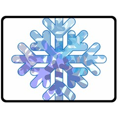 Snowflake Blue Snow Snowfall Double Sided Fleece Blanket (large)