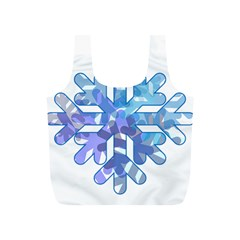 Snowflake Blue Snow Snowfall Full Print Recycle Bags (s)