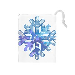 Snowflake Blue Snow Snowfall Drawstring Pouches (medium)
