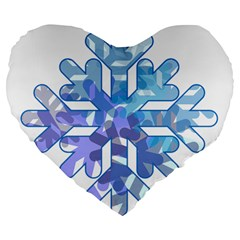 Snowflake Blue Snow Snowfall Large 19  Premium Flano Heart Shape Cushions