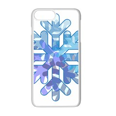Snowflake Blue Snow Snowfall Apple Iphone 7 Plus White Seamless Case