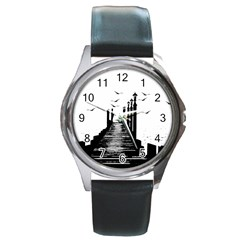 The Pier The Seagulls Sea Graphics Round Metal Watch