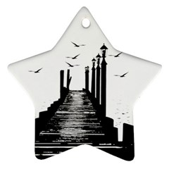 The Pier The Seagulls Sea Graphics Ornament (Star)