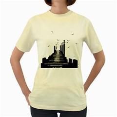 The Pier The Seagulls Sea Graphics Women s Yellow T Shirt