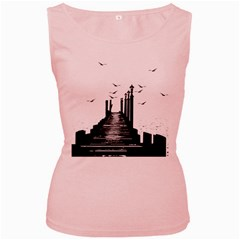 The Pier The Seagulls Sea Graphics Women s Pink Tank Top