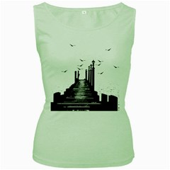 The Pier The Seagulls Sea Graphics Women s Green Tank Top