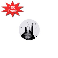 The Pier The Seagulls Sea Graphics 1  Mini Buttons (100 Pack)
