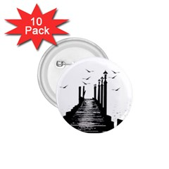 The Pier The Seagulls Sea Graphics 1 75  Buttons (10 Pack)