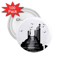 The Pier The Seagulls Sea Graphics 2 25  Buttons (100 Pack)