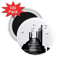 The Pier The Seagulls Sea Graphics 2 25  Magnets (100 Pack)