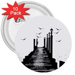The Pier The Seagulls Sea Graphics 3  Buttons (10 pack)  Front