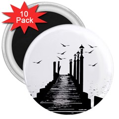 The Pier The Seagulls Sea Graphics 3  Magnets (10 Pack)