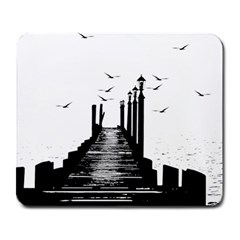 The Pier The Seagulls Sea Graphics Large Mousepads