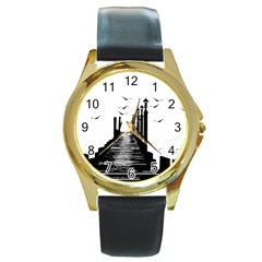 The Pier The Seagulls Sea Graphics Round Gold Metal Watch