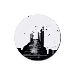 The Pier The Seagulls Sea Graphics Rubber Round Coaster (4 Pack)