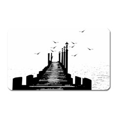 The Pier The Seagulls Sea Graphics Magnet (rectangular)